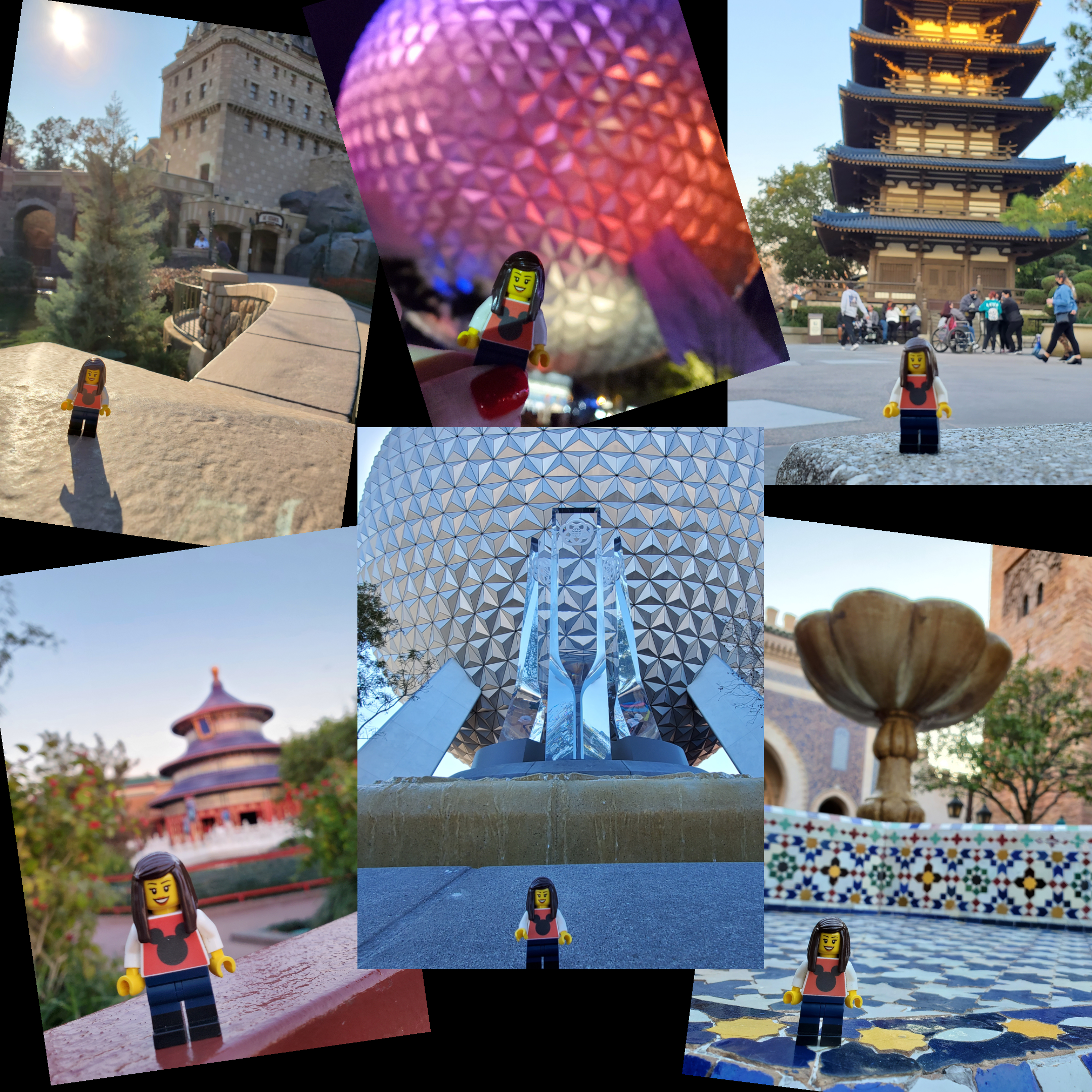 Photo collage of the Cromer Family minifigures around Epcot.