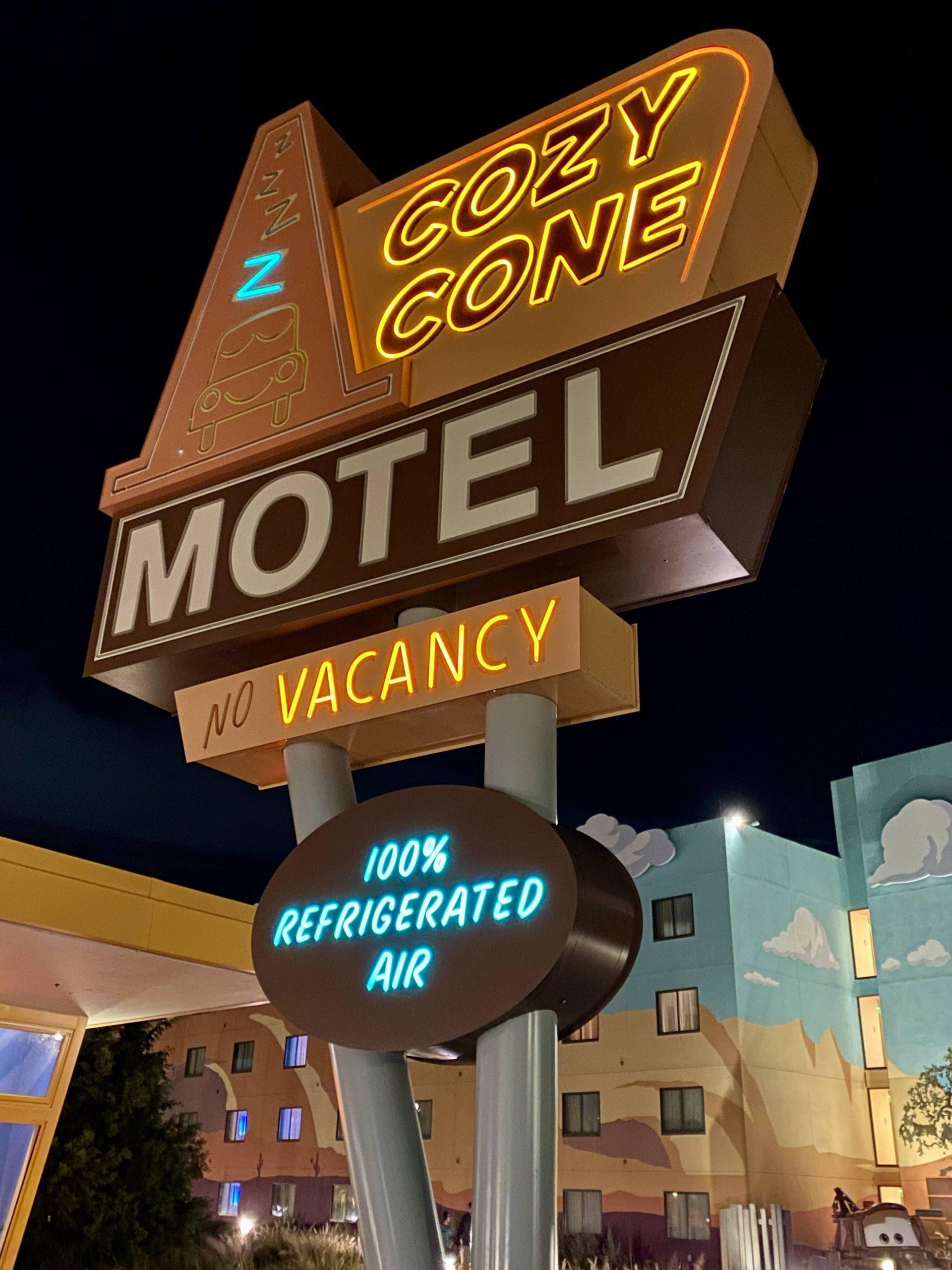 Cozy Cone Hotel sign